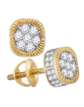 10kt Yellow Gold Unisex Round Diamond Fluted Flower Cluster Earrings 1.00 Cttw
