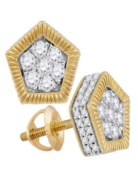 10kt Yellow Gold Unisex Round Diamond Polygon Fluted Cluster Stud Earrings 3/4 Cttw