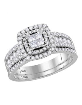 14kt White Gold Womens Princess Diamond Double Halo Bridal Wedding Engagement Ring Band Set 1.00 Cttw