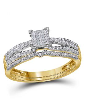 14kt Yellow Gold Womens Princess Diamond Cluster Bridal Wedding Engagement Ring Band Set 1/2 Cttw