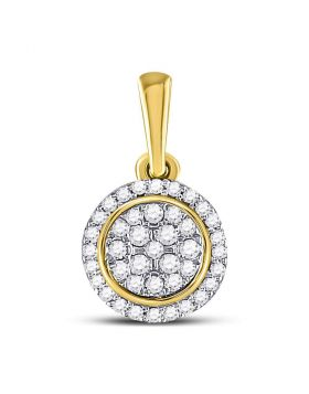 10kt Yellow Gold Womens Round Diamond Circle Cluster Pendant 1/4 Cttw