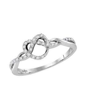 10kt White Gold Womens Round Diamond Heart Pretzel Ring 1/8 Cttw
