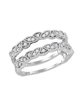 14kt White Gold Womens Round Diamond Milgrain Wrap Ring Guard Enhancer Wedding Band 1/3 Cttw