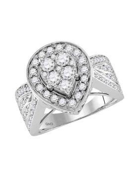 14kt White Gold Womens Round Diamond Teardrop Cluster Bridal Wedding Engagement Ring 1-1/2 Cttw