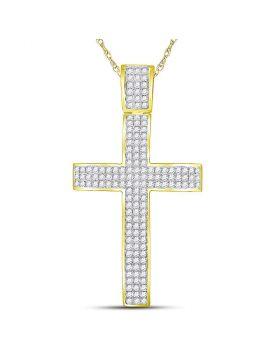 10kt Yellow Gold Unisex Round Diamond Roman Cross Crucifix Charm Pendant 2-1/2 Cttw