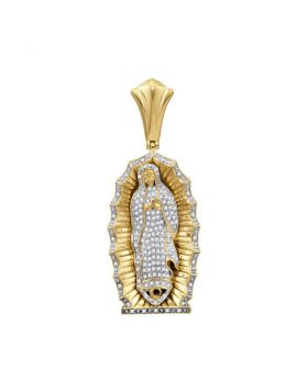 10kt Yellow Gold Unisex Round Diamond Guadalupe Mary Charm Pendant 1.00 Cttw