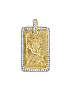 10kt Yellow Gold Unisex Round Diamond Rectangle Lady Liberty Statue Dog Tag Charm Pendant 1/3 Cttw