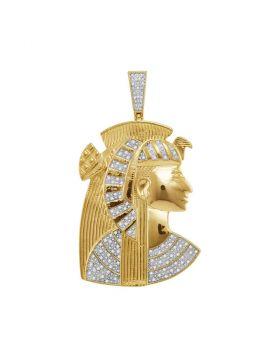 10kt Yellow Gold Unisex Round Diamond Pharaoh Charm Pendant 3/8 Cttw