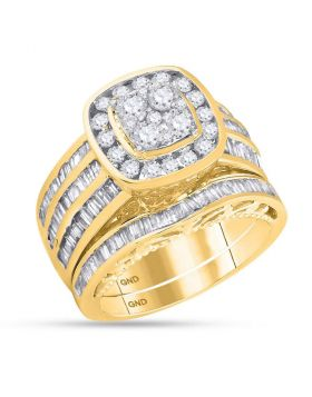 14kt Yellow Gold Womens Round Diamond Cluster Bridal Wedding Engagement Ring Band Set 1-7/8 Cttw