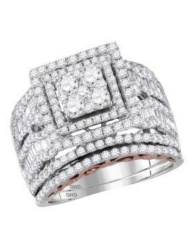 14kt Two-tone Gold Womens Round Diamond Bridal Wedding Engagement Ring Band Set 2-3/8 Cttw