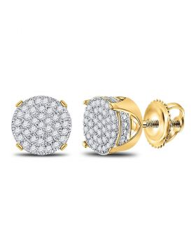 10kt Yellow Gold Unisex Round Diamond Circle Cluster Stud Earrings 1/4 Cttw