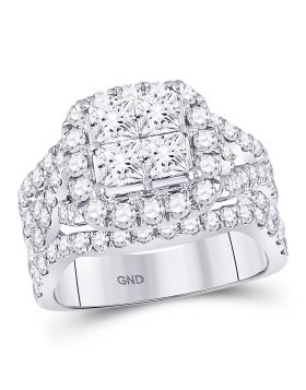 14kt White Gold Womens Princess Diamond Cluster Bridal Wedding Engagement Ring 3.00 Cttw