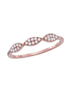 10kt Rose Gold Womens Round Diamond Oval Cluster Stackable Band Ring 1/8 Cttw