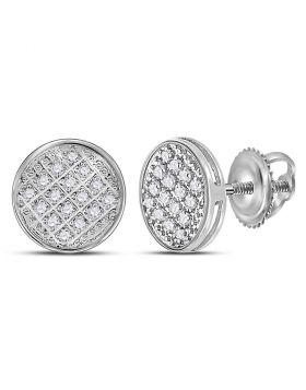 10kt White Gold Unisex Round Diamond Circle Cluster Stud Earrings 1/12 Cttw