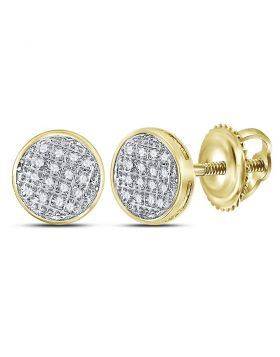 10kt Yellow Gold Unisex Round Diamond Circle Cluster Stud Earrings 1/12 Cttw