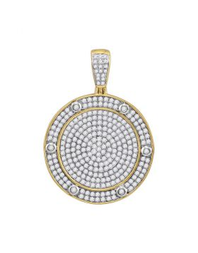 10kt Yellow Gold Unisex Round Diamond Circle Medallion Charm Pendant 1-1/2 Cttw