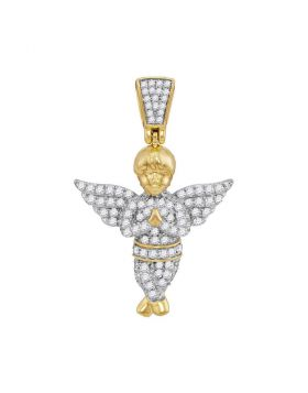 10kt Yellow Gold Unisex Round Diamond Guardian Angel Charm Pendant 1/2 Cttw