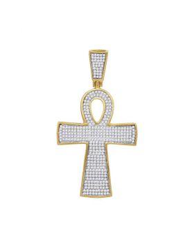 10kt Yellow Gold Unisex Round Diamond Ankh Cross Religious Charm Pendant 3/4 Cttw