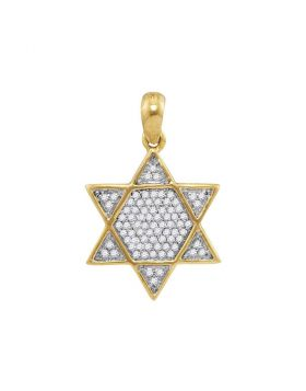 10kt Yellow Gold Unisex Round Diamond 6-Point Star Magen David Charm Pendant 1/5 Cttw