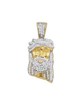 10kt Yellow Gold Unisex Round Diamond Jesus Christ Messiah Head Charm Pendant 3/8 Cttw