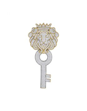 10kt Yellow Gold Unisex Round Diamond King Lion Crown Key Charm Pendant 1-5/8 Cttw