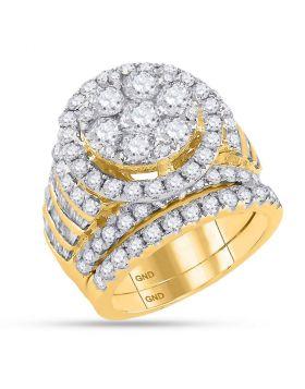 14kt Yellow Gold Womens Round Diamond Bridal Wedding Engagement Ring Band Set 4-7/8 Cttw