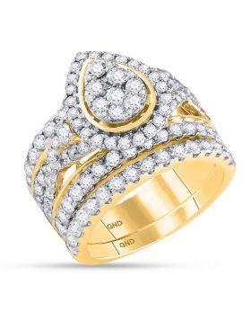 14kt Yellow Gold Womens Round Diamond Teardrop Bridal Wedding Engagement Ring Band Set 3.00 Cttw