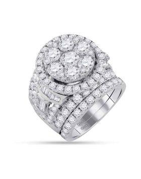 14kt White Gold Womens Round Diamond Bridal Wedding Engagement Ring Band Set 6.00 Cttw