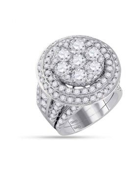 14kt White Gold Womens Round Diamond Cluster Bridal Wedding Engagement Ring Band Set 7.00 Cttw