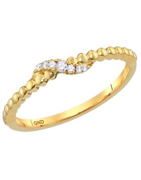 10kt Yellow Gold Womens Round Diamond Crossover Stackable Band Ring 1/20 Cttw