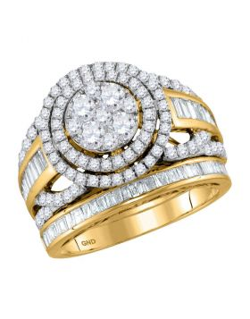 14kt Yellow Gold Womens Round Diamond Halo Bridal Wedding Engagement Ring Band Set 1-7/8 Cttw