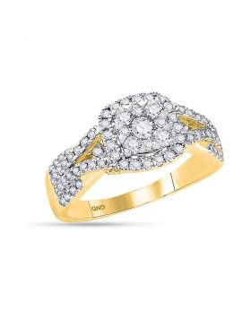 14kt Yellow Gold Womens Round Diamond Square Cluster Bridal Wedding Engagement Ring 1.00 Cttw