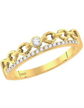 10kt Yellow Gold Womens Round Diamond Rolo Link Stackable Band Ring 1/12 Cttw