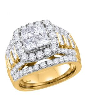 14kt Yellow Gold Womens Princess Diamond Cluster Halo Bridal Wedding Engagement Ring 3.00 Cttw