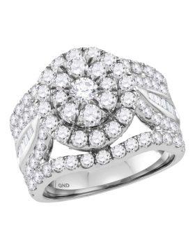 14kt White Gold Womens Round Diamond Flower Cluster Bridal Wedding Engagement Ring 3-1/2 Cttw