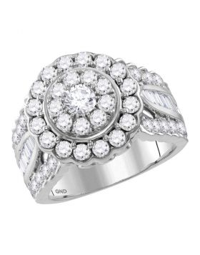 14kt White Gold Womens Round Diamond Solitaire Halo Bridal Wedding Engagement Ring 3.00 Cttw