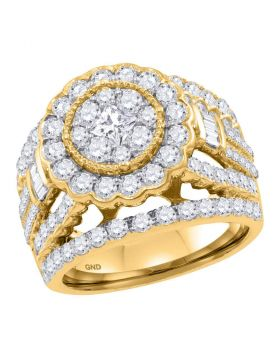 14kt Yellow Gold Womens Princess Diamond Flower Cluster Bridal Wedding Engagement Ring 3.00 Cttw