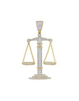 10kt Yellow Gold Unisex Round Diamond Scales of Justice Charm Pendant 1.00 Cttw