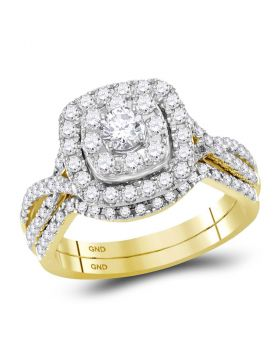 14kt Yellow Gold Womens Round Diamond Halo Bridal Wedding Engagement Ring Band Set 1.00 Cttw