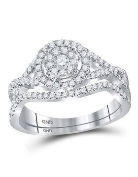 14kt White Gold Womens Round Diamond Cluster Bridal Wedding Engagement Ring Band Set 1/2 Cttw
