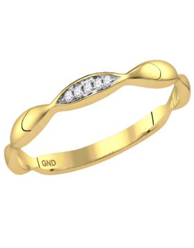 14kt Yellow Gold Womens Round Diamond Contoured Stackable Band Ring .02 Cttw