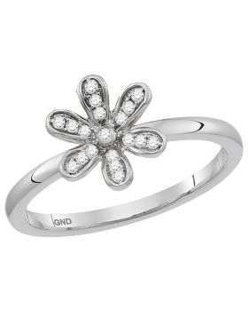 14kt White Gold Womens Round Diamond Flower Floral Stackable Band Ring 1/8 Cttw