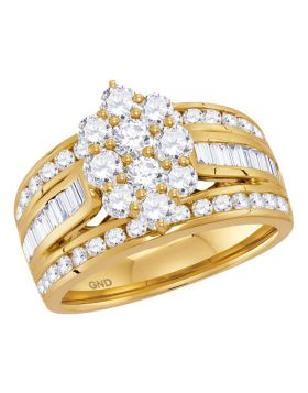 14kt Yellow Gold Womens Round Diamond Cluster Ring 2.00 Cttw