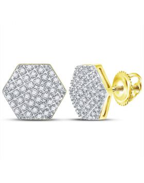 10kt Yellow Gold Unisex Round Diamond Hexagon Cluster Stud Earrings 1/5 Cttw