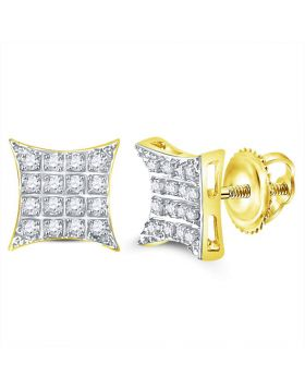 10kt Yellow Gold Unisex Round Diamond Kite Square Cluster Stud Earrings 1/10 Cttw