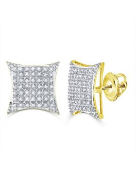 10kt Yellow Gold Unisex Round Diamond Square Kite Cluster Stud Earrings 1/3 Cttw