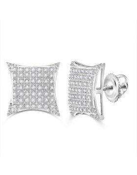 10kt White Gold Unisex Round Diamond Square Kite Cluster Stud Earrings 1/3 Cttw