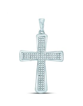 10kt White Gold Unisex Round Diamond Roman Cross Charm Pendant 1/3 Cttw