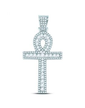 10kt White Gold Unisex Round Diamond Ankh Cross Charm Pendant 1.00 Cttw