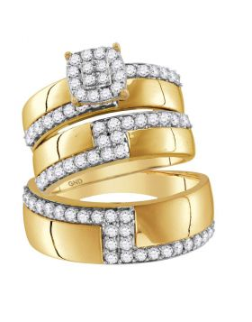 14kt Yellow Gold His & Hers Round Diamond Cluster Matching Bridal Wedding Ring Band Set 1-1/2 Cttw
